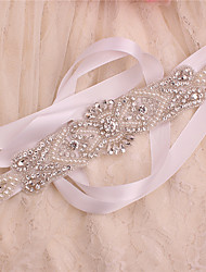cheap -Satin / Tulle Wedding / Party / Evening Sash With Crystal / Imitation Pearl / Belt Women's Sashes / Appliques