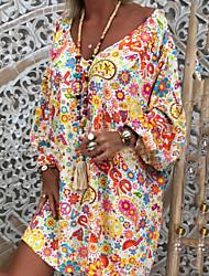 Недорогие -Жен. А-силуэт Платье - Длинный рукав Цветочный принт Цветочный V-образный вырез Богемный Свободный силуэт Белый Черный S M L XL XXL XXXL