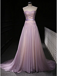 cheap -A-Line Elegant Purple Engagement Formal Evening Dress Strapless Sleeveless Court Train Polyester with Beading Lace Insert Appliques 2020
