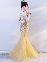 cheap -Mermaid / Trumpet Court Train Wedding / Party / Pageant Flower Girl Dresses - Tulle Cap Sleeve Boat Neck with Crystals / Rhinestones