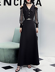 cheap -A-Line Elegant Black Party Wear Formal Evening Dress V Neck Long Sleeve Floor Length Spandex with Buttons 2020