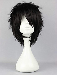 cheap -Synthetic Wig Curly Halloween Asymmetrical Wig Short Natural Black Synthetic Hair 12 inch Men's Best Quality Fluffy Black