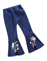 cheap -Kids Toddler Girls' Active Basic Print Pleated Jeans Blue