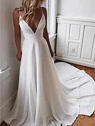 cheap -A-Line Wedding Dresses V Neck Sweep / Brush Train Satin Sleeveless Boho Sexy Plus Size with Appliques 2020