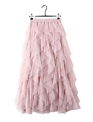 cheap -Women's Daily Wear Basic A Line Skirts - Solid Colored Tulle Blushing Pink Black Beige One-Size