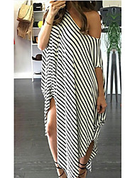 cheap -Women's Asymmetrical Black Gray Dress Shift Striped One Shoulder S M Loose