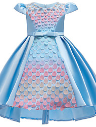 cheap -Kids Girls' Active Sweet Solid Colored Bow Pear Cut Sleeveless Asymmetrical Dress Blushing Pink