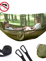 cheap -Camping Hammock with Pop Up Mosquito Net Double Hammock Outdoor Automatic Open Hammock Portable Breathable Anti-Mosquito Parachute Nylon with Carabiners and Tree Straps for 2 person 250*120