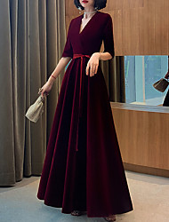 cheap -A-Line Minimalist Red Wedding Guest Formal Evening Dress V Neck Half Sleeve Floor Length Velvet with Sash / Ribbon 2020