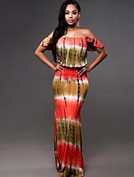 cheap -Women's Red Dress Sheath Color Block Off Shoulder S M