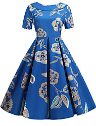 cheap -Women's Blue Dress Vintage Style Street chic Party Daily Swing Print Patchwork Print S M / Cotton