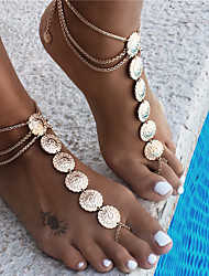 cheap -Anklet Boho Fashion Women's Body Jewelry For Party Evening Beach Crossover Alloy Gold 1 Piece
