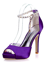 cheap -Women's Wedding Shoes Stiletto Heel Open Toe Imitation Pearl Satin Sweet Spring & Summer Black / White / Purple / Party & Evening