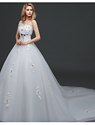cheap -Ball Gown Wedding Dresses Strapless Watteau Train Lace Tulle Polyester Strapless Romantic Sexy with Crystals 2020