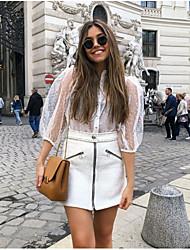 cheap -Women's Polka Dot Shirt Daily Shirt Collar White / Black
