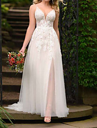 cheap -A-Line Spaghetti Strap Sweep / Brush Train Lace Sleeveless Boho Plus Size Wedding Dresses with Lace / Split Front 2020