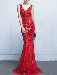 cheap -Mermaid / Trumpet Sexy Red Engagement Formal Evening Dress V Neck Sleeveless Sweep / Brush Train Polyester with Sequin 2020