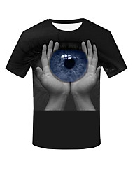 cheap -Men's Daily Plus Size T-shirt 3D Solid Colored Eye Short Sleeve Tops Basic Streetwear Round Neck Black