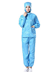 cheap -Antistatic split clothing hooded lapel dust-free clothing purification workshop overalls blue and white tops food pharmaceutical