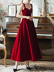 cheap -A-Line Sexy Red Prom Formal Evening Dress Sweetheart Neckline Sleeveless Ankle Length Spandex Satin with Bow(s) 2020