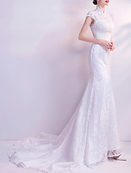 cheap -Mermaid / Trumpet High Neck Court Train Chiffon / Tulle Cap Sleeve Formal Illusion Detail / Plus Size Wedding Dresses with Draping / Lace Insert / Appliques 2020