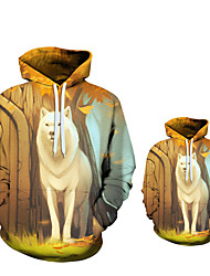 cheap -Children Boys Hoodies 3D Digital Printing Tiger Wolf Jacket Casual Kids Sweater 5-14 Years Clothes