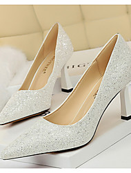 cheap -Women's Wedding Shoes Glitter Crystal Sequined Jeweled Chunky Heel Pointed Toe PU Spring & Summer Pink / Champagne / Gold