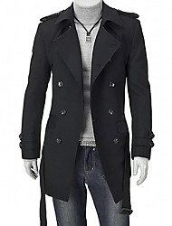 cheap -Men's Daily Simple / Casual Winter Long Trench Coat, Solid Colored Shirt Collar Long Sleeve Cotton / Acrylic Buckle Black / Gray