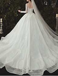 cheap -Ball Gown Jewel Neck Watteau Train Lace / Tulle Long Sleeve Formal Plus Size / Illusion Sleeve Wedding Dresses with Lace / Lace Insert 2020