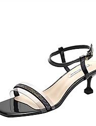 cheap -Women's Sandals Kitten Heel Square Toe PU Summer Black / Almond