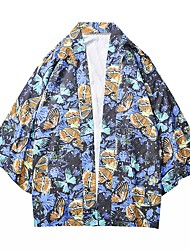 cheap -Men's Animal Shirt Daily V Neck Black / Blue / Orange