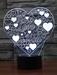 cheap -3D Heart-shaped Love Night Light Colorful Acrylic Home Decoration Light Bedroom Valentine's Day Gift for Children