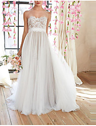 cheap -A-Line Empire White Engagement Prom Dress Illusion Neck Sleeveless Floor Length Polyester with Appliques 2020