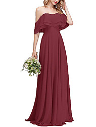 cheap -A-Line Off Shoulder Sweep / Brush Train Chiffon Bridesmaid Dress with Tier