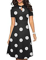 cheap -Women's 2020 Black Dress Summer A Line Polka Dot Black & White Print M L