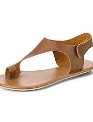 cheap -Women's Sandals Flat Heel Open Toe PU Summer Khaki / Brown