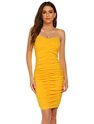 cheap -Women's Daily Club Sexy Bodycon Dress - Solid Color Backless Pleated Yellow S M L XL