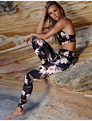 cheap -Women's Sports Yoga Sporty Legging Floral Patchwork Print See Through Mid Waist Black S M L / Skinny