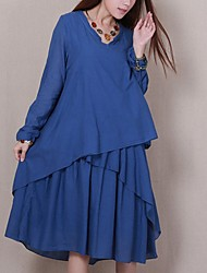 cheap -Women's Loose Dress - Solid Color Blue One-Size