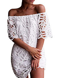 cheap -Women's Sheath Dress - Solid Colored Black Wine White S M L XL