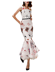 cheap -Mermaid / Trumpet Sexy White Wedding Guest Prom Dress Spaghetti Strap Sleeveless Ankle Length Polyester with Pattern / Print 2020
