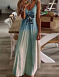 cheap -Women's Holiday Vacation Maxi A Line Dress - Print Color Block Strap Spring & Summer Blushing Pink Green Blue S M L XL