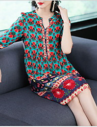 cheap -Women's Shift Dress - Print Red M L XL XXL