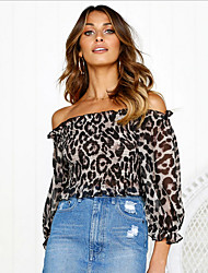 cheap -Women's Leopard Loose Blouse Daily Off Shoulder Black
