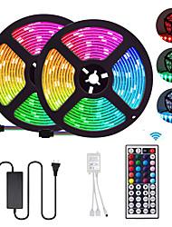 cheap -2x5M Flexible LED Strip Lights Light Sets RGB Tiktok Lights 300 LEDs SMD5050 10mm 1 12V 6A Adapter 1 44Keys Remote Controller 1 set Multi Color Waterproof Cuttable Party 85-265 V