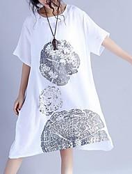 cheap -Women's White Navy Blue Dress Loose Print L XL Loose
