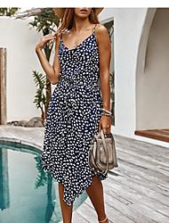 cheap -Women's A Line Dress - Sleeveless Print Strap White Orange Navy Blue S M L XL