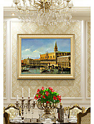 cheap -European Italy Water City Scene Picture on Wood Board Frame Luxury Design Hand Printed Canvas Gilt Wood Carved Oil Painting