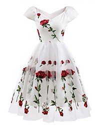 cheap -Women's White Black Dress A Line Floral Off Shoulder Lace Embroidered S M