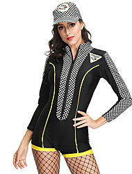 cheap -Cheerleader Hat Outfits Adults' Women's Cosplay Halloween Halloween Festival / Holiday Polyster Black Women's Carnival Costumes / Leotard / Onesie